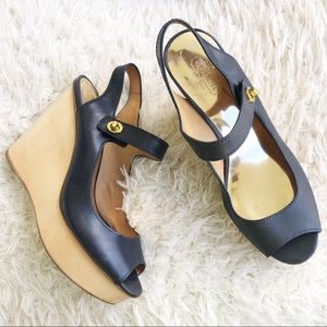 Coach Navy Blue Wooden Wedge Shoes!
